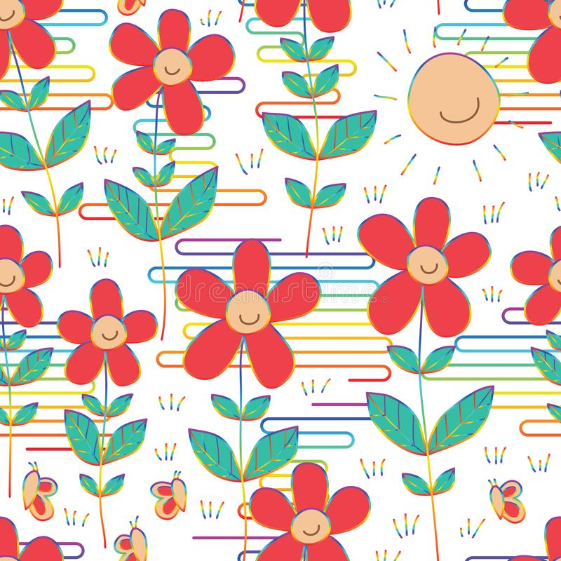 Flower sun smile butterfly rainbow style Japan cloud line seamless pattern. This illustration is design and drawing flower and sun smile with butterfly in royalty free illustration