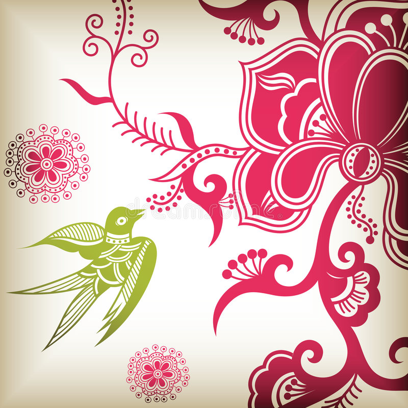 Download Flower and swallow stock vector. Illustration of elegance - 8731861