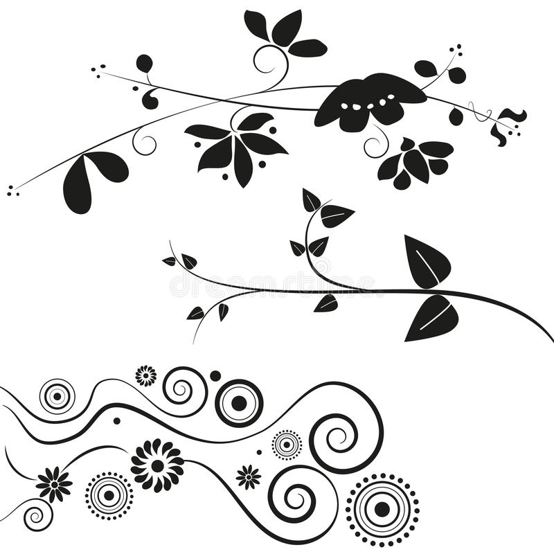 Flower and swirl decorations. Set of three different flower and swirl decorations in black, isolated on white background. Vector. Eps available vector illustration