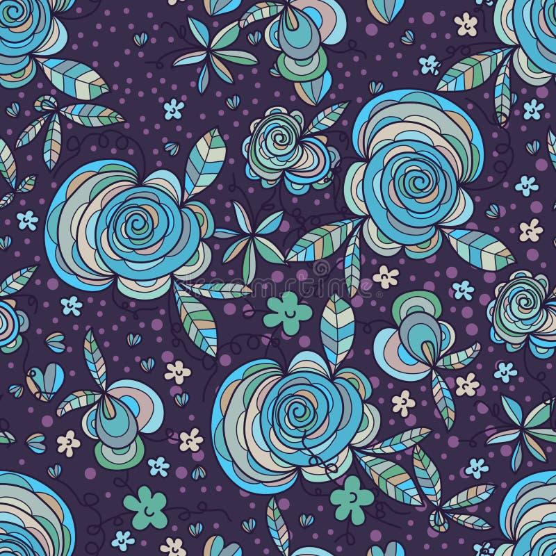 Flower swirl leaf purple seamless pattern royalty free illustration