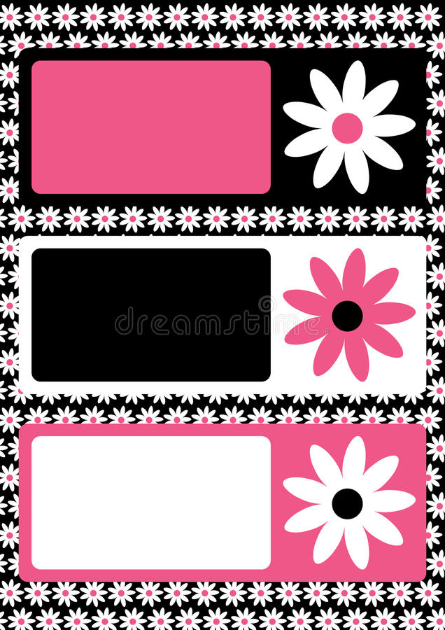Flower tags frame or greeting card. Pink, black and white tag frame with blocks to write message or pin photos stock illustration