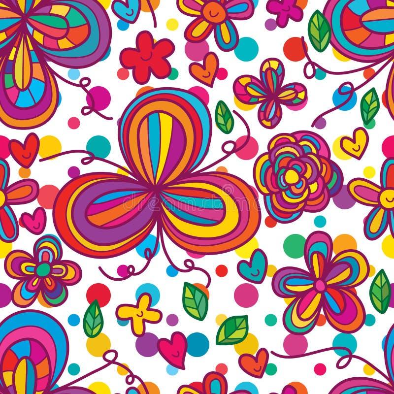 Flower tail free seamless pattern vector illustration