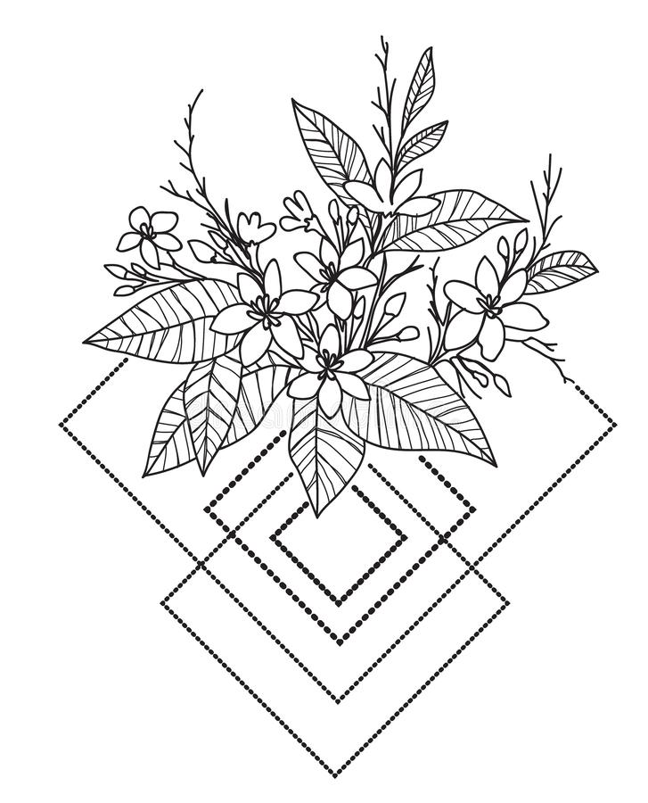 Tattoo art flower hand drawing and sketch black and white royalty free illustration