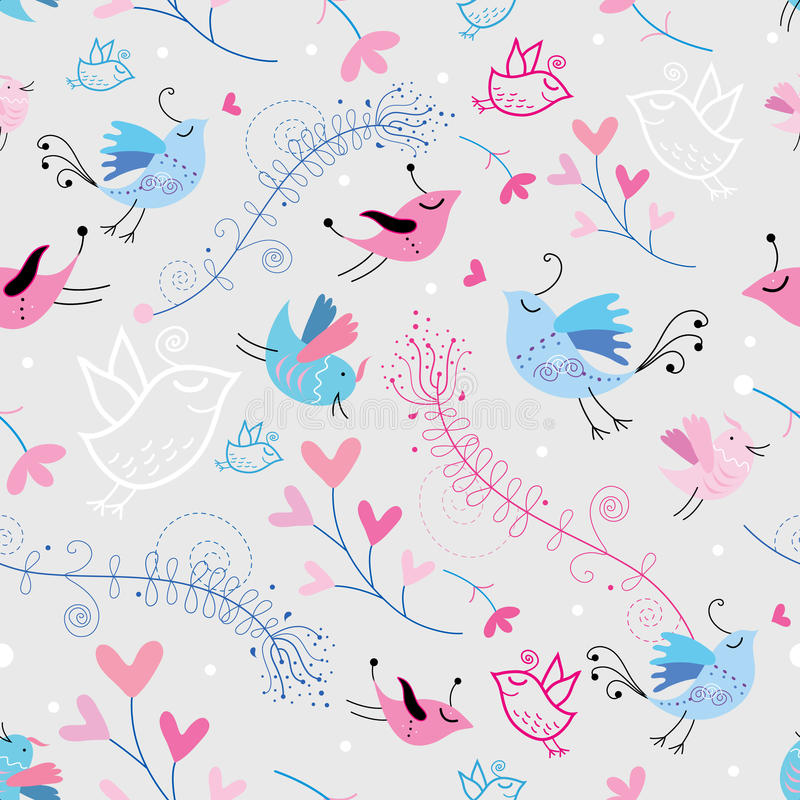Flower texture with birds royalty free illustration