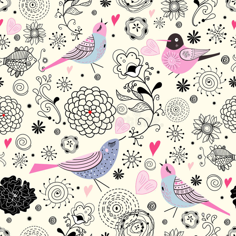 Flower texture with blue birds vector illustration