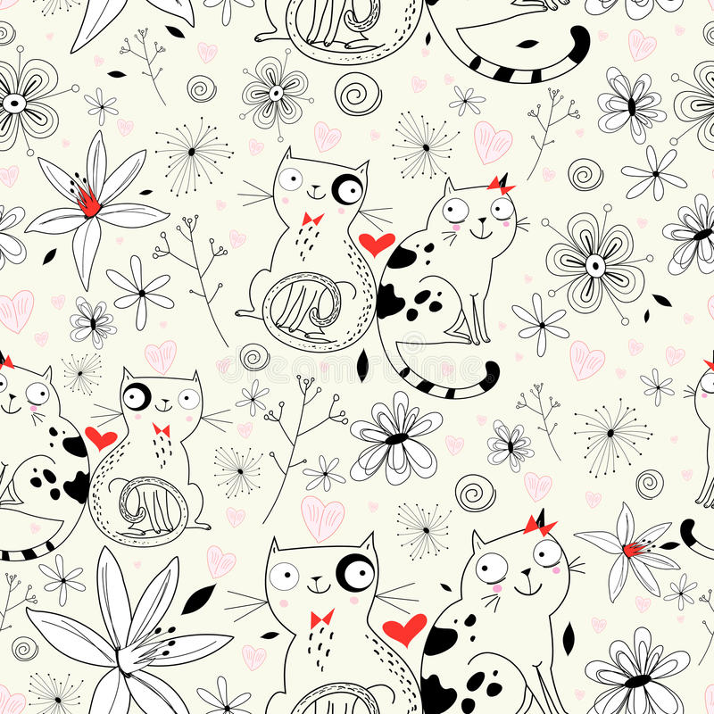 Flower texture with cats. Seamless floral graphic pattern of cats on a light background