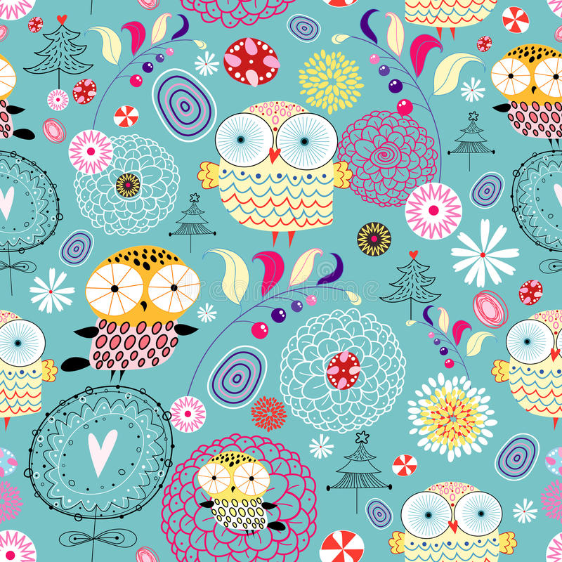 Flower texture with owls vector illustration