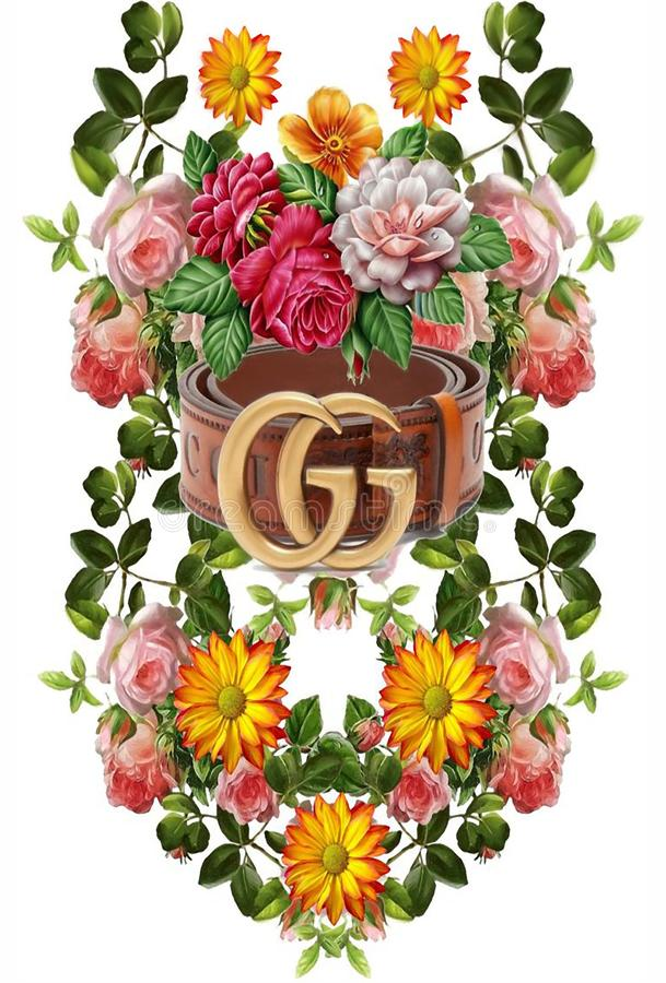Flower tropical ornamen gucci 42. Tropical flower decorations design ornaments pattern fresh color stock illustration
