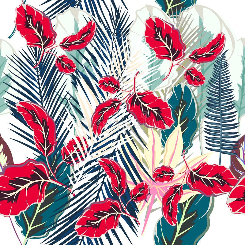 Flower tropical vector pattern with colorful palm plants vector illustration