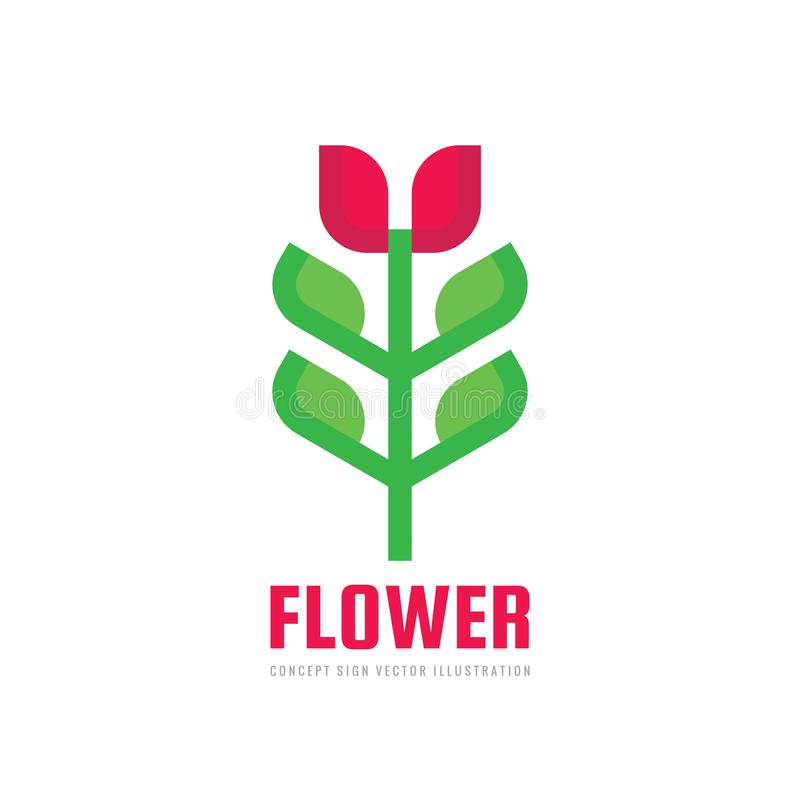 Flower tulip with green leaves - vector business logo template concept illustration in flat geometric style. Organic product icon, stock illustration