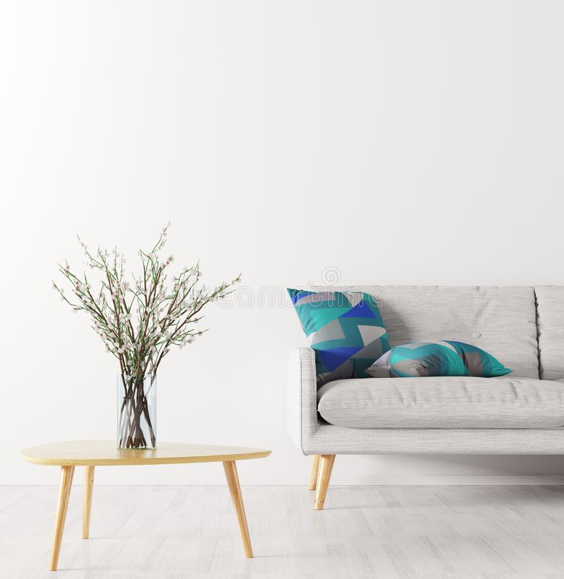 Flower vase on the coffee table and sofa over white wall interi. Room interior background, glass vase with flower branches on the wooden coffee table and sofa vector illustration