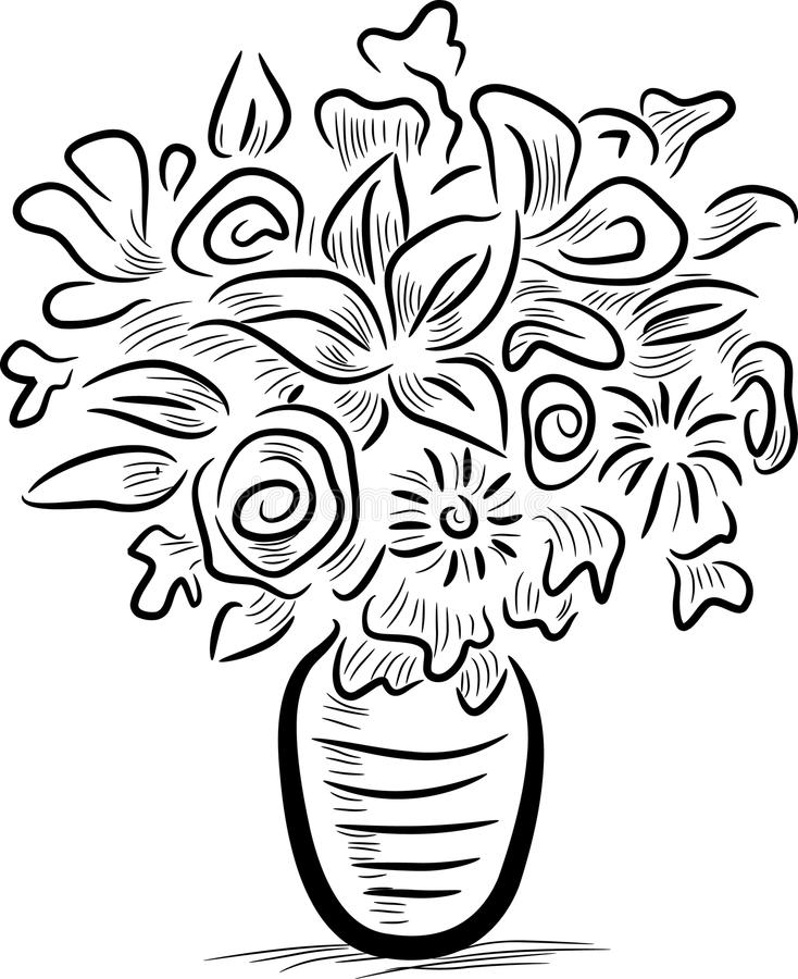 Flower vase. Illustrated flower vase clip art image stock illustration