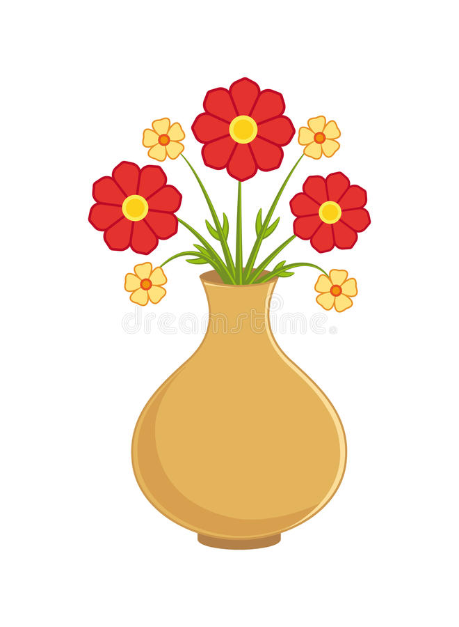 Flower in vase vector illustration