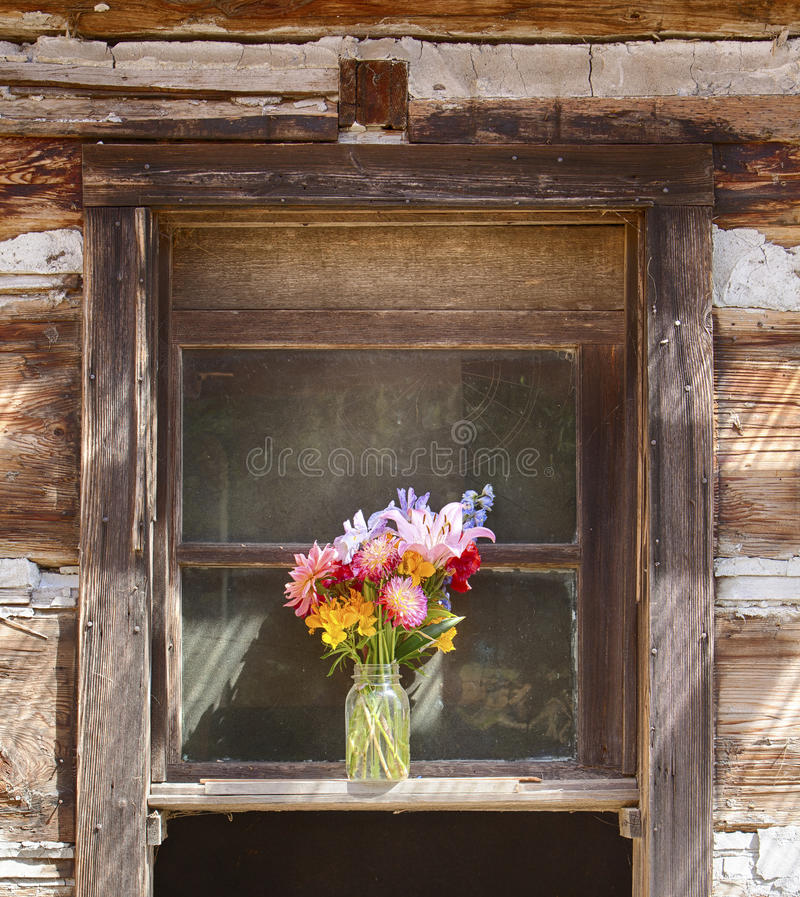 Flower Vase In Window. A still life of a flower vase is centered in a window on an old pioneer log cabin on Waldron Island in Washington stock photography