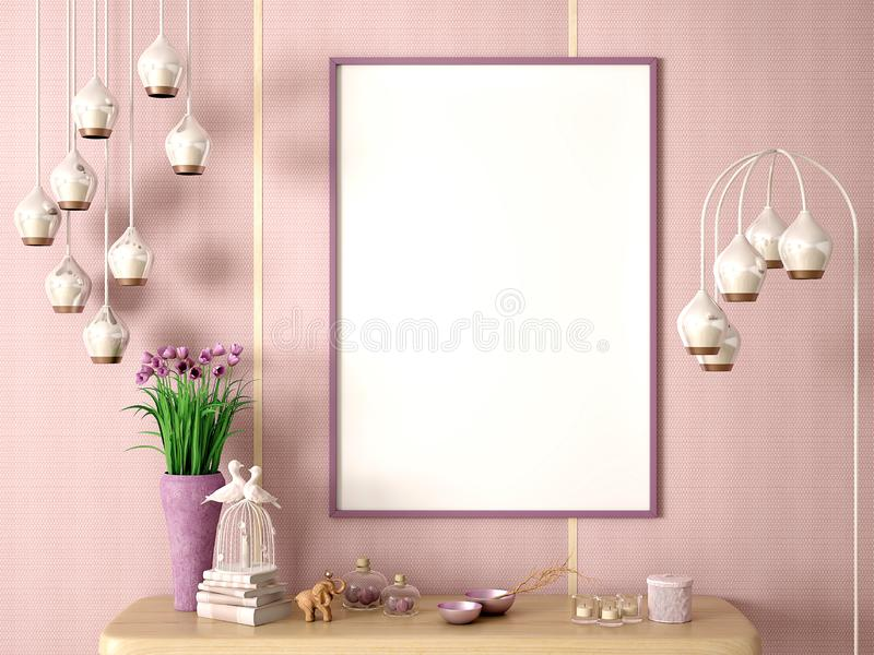 Flower in vase on the wooden shelf with frame and decor background 3d rendering royalty free stock photos