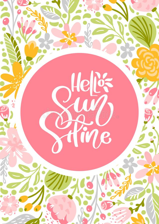 Flower Vector greeting card with text Hello Sunshine. Isolated colored flat illustration on white background royalty free illustration