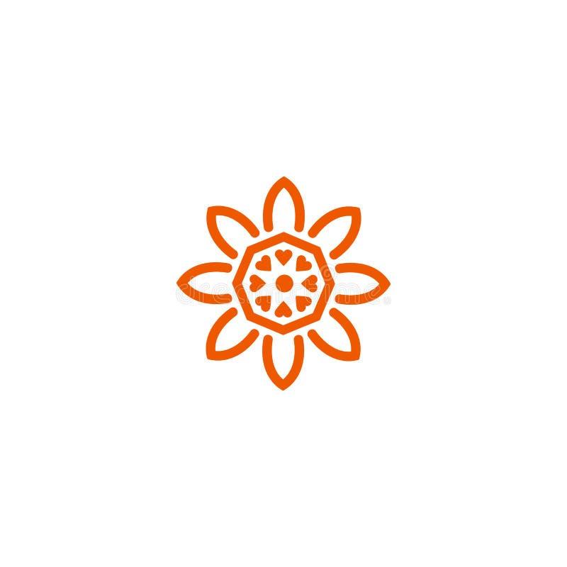 Flower vector linear logo. Orange line art sun icon. Outline garden abstract symbol. Flower vector linear nature logo. Orange line art summer sun. Outline vector illustration