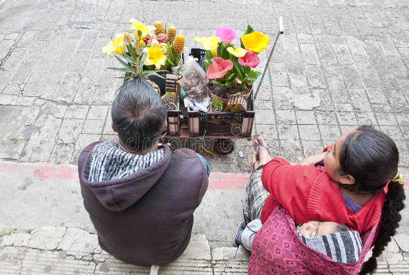 Flower Vendors in Chiapas, Mexico stock images