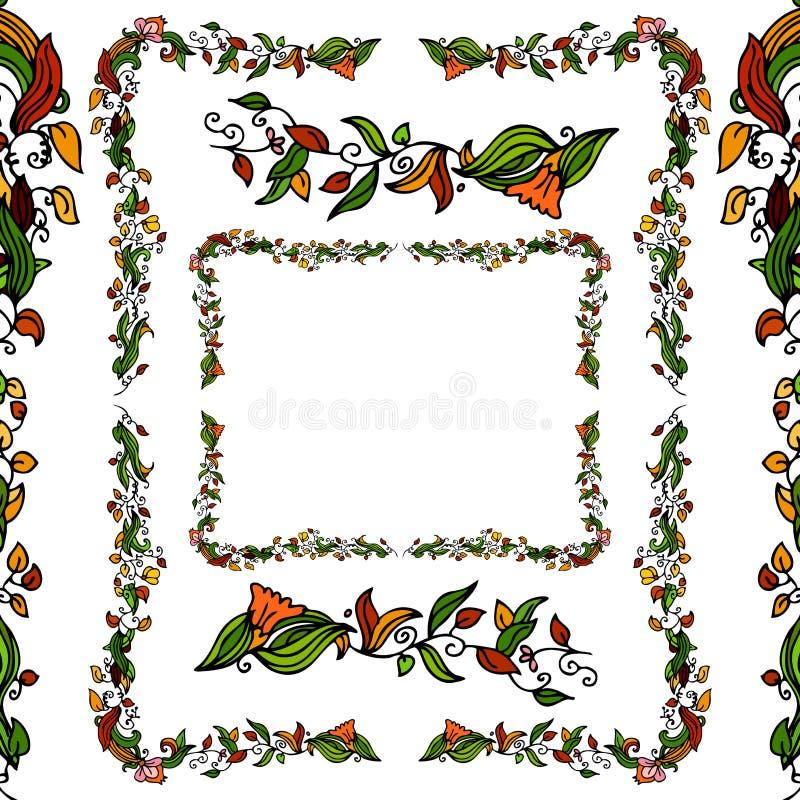 Flower Vine Border Set vector illustration