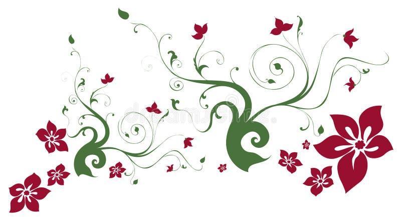 Flower and vines vector illustration