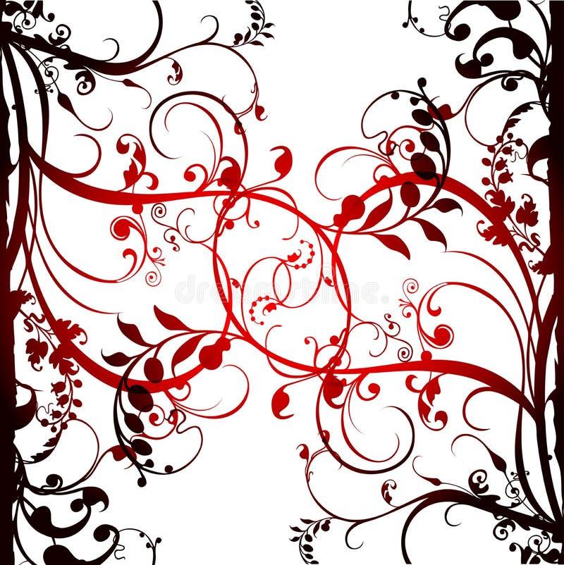 Flower and vines background stock illustration