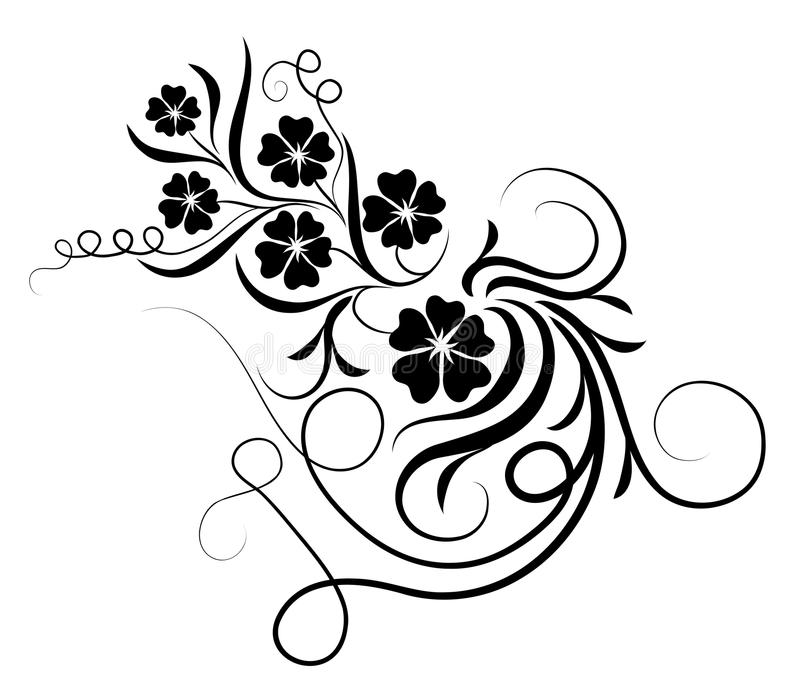 Black Flower And Vines Pattern Royalty Free Stock Image: Flower And Vines Silhouette Stock Illustration