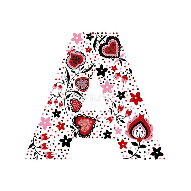 Flower vintage alphabet letter A with folk motives. Hand drawn watercolor and gouache abstract hearts isolated on white background stock illustration