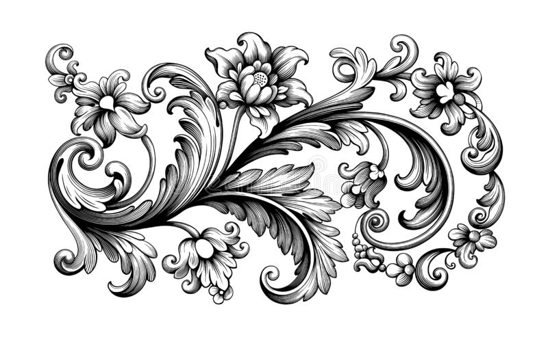 Flower vintage Baroque scroll Victorian frame border floral ornament engraved retro pattern rose peony tattoo filigree vector royalty free illustration