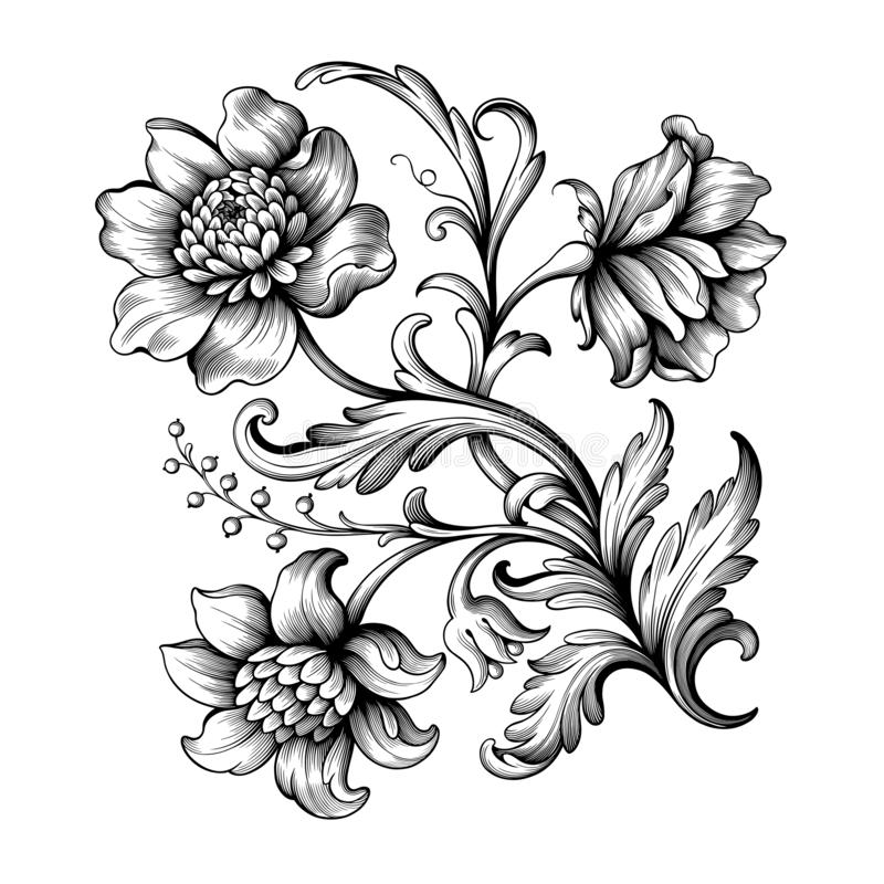 Flower vintage Baroque scroll Victorian frame border floral ornament engraved retro pattern rose peony tattoo filigree vector stock illustration