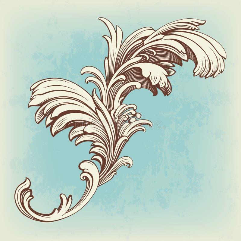 Flower vintage pattern engraving scroll motif vector illustration