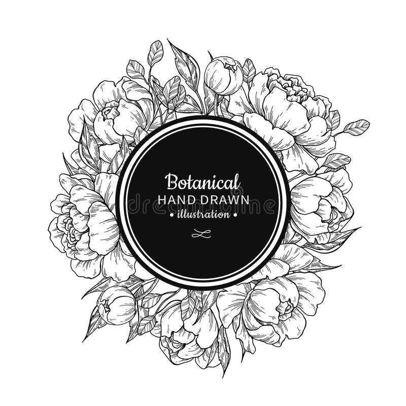 Flower vintage vector frame drawing. Peony, rose, leaves and ber. Ry sketch wreath. Engraved botanical bouquet. Hand drawn floral wedding invitation, label stock illustration