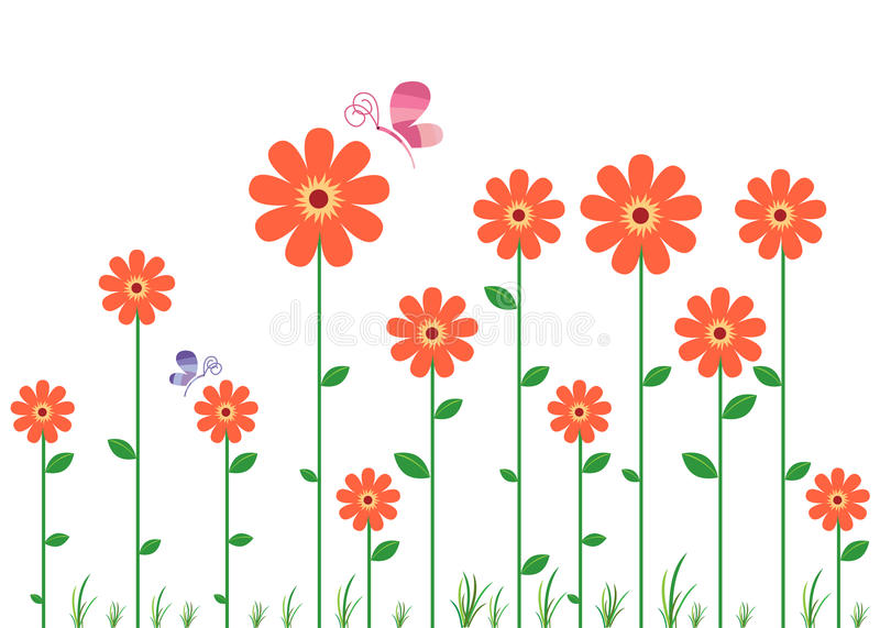 Flower Wall Decal. Red Flower in a row wall decal vector illustration
