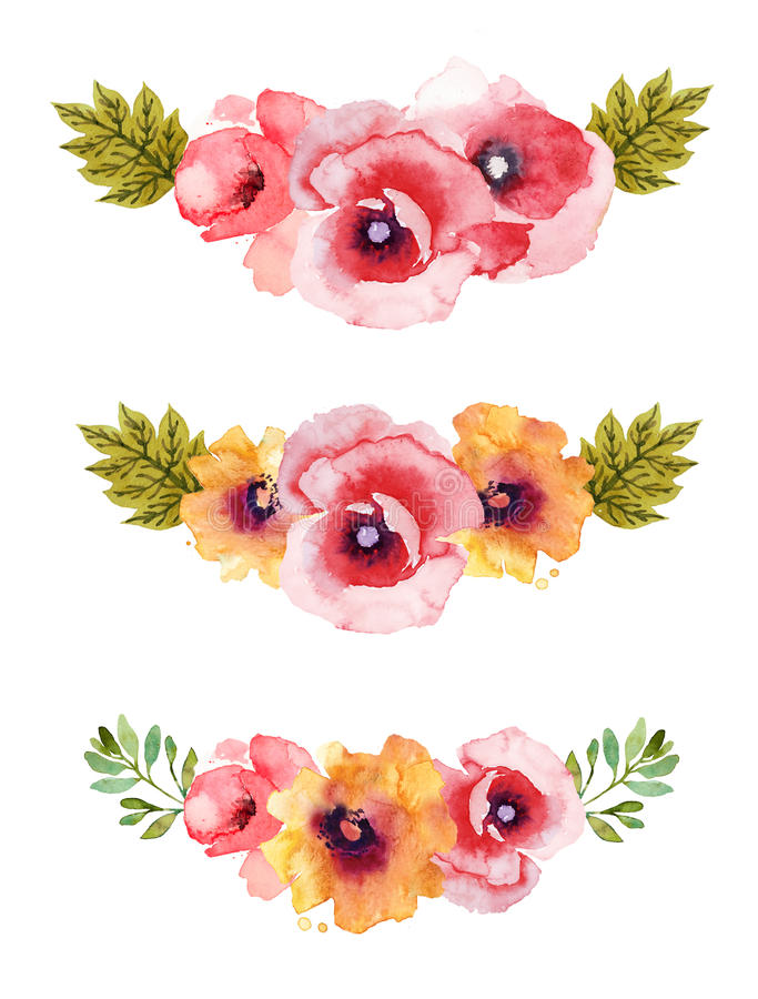 Flower watercolor background compositions. Three beautiful flower watercolor background compositions stock illustration
