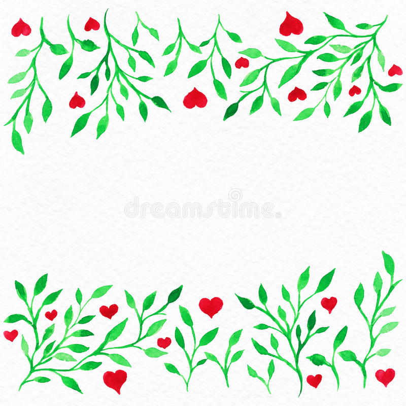 Flower watercolor.Card with water color leaves. By St. Valentine stock image