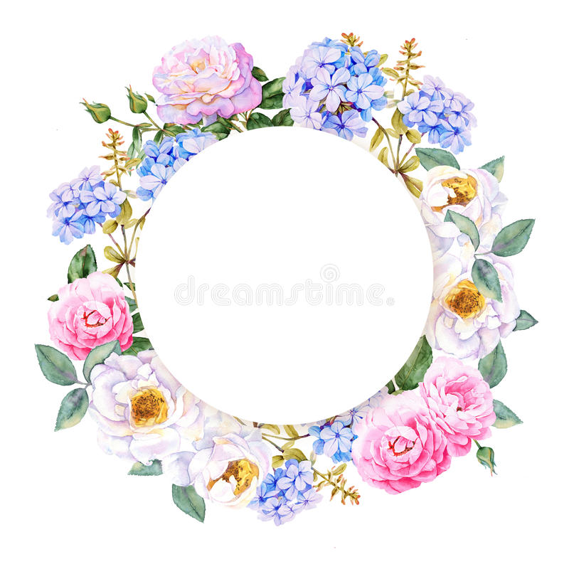 Flower watercolor spring wreath royalty free illustration