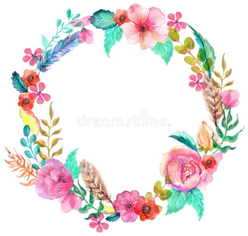 Flower watercolor wreath stock illustration