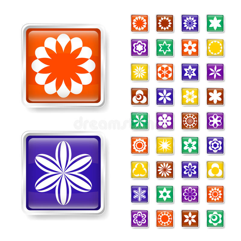 Flower web buttons royalty free illustration