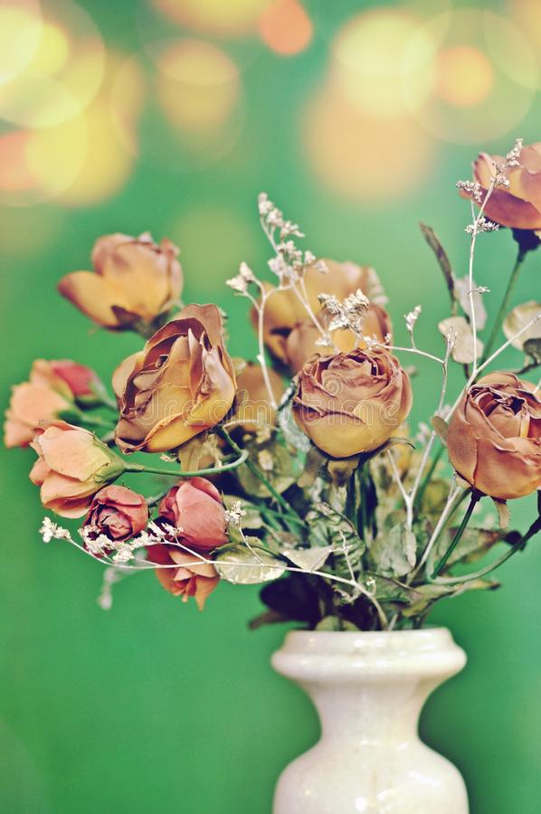A flower white vase with a bouquet of autumn brown colored artificial roses on green background with vintage tone. royalty free stock image