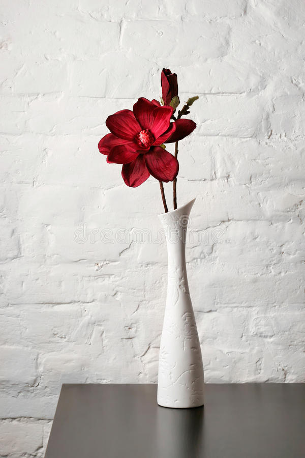 Flower In The White Vase On The Table Stock Photo Image Of Brick