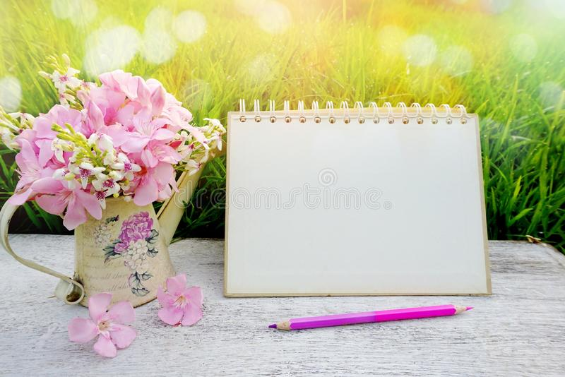 Flower on wooden table in soft pastel tone of bokeh nature green grass , including blank page calendar ,pencil morning background. Pink flower on wooden table in stock images