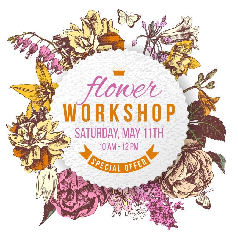 Flower workshop paper label on floral background. Flower workshop paper label on hand drawn floral background royalty free illustration