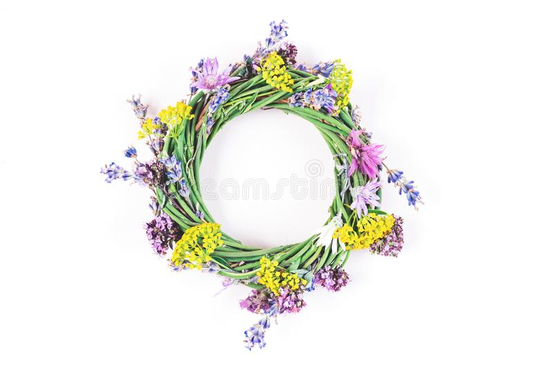 Flower wreath on background. royalty free stock images