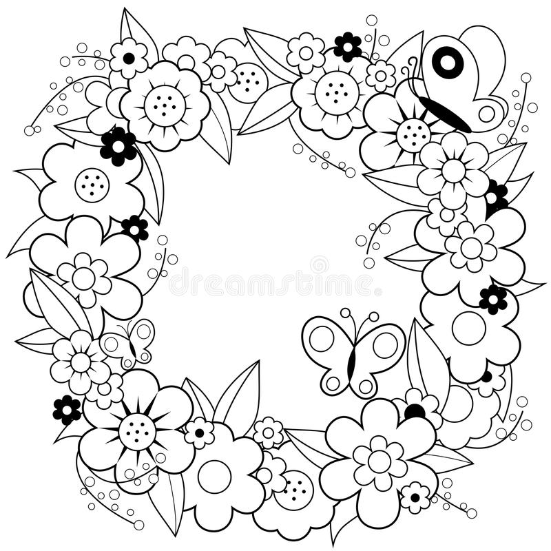 Flower Wreath Coloring Book Page Stock Vector