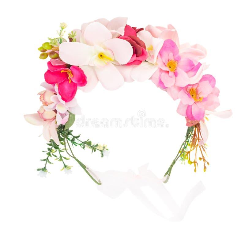 Flower wreath isolated stock photo