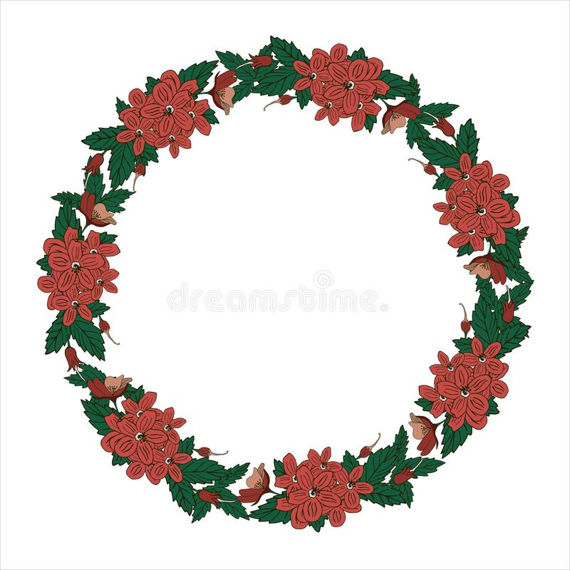Flower wreath isolated on white background. Round frame for your design, greeting cards, wedding announcements, posters vector illustration