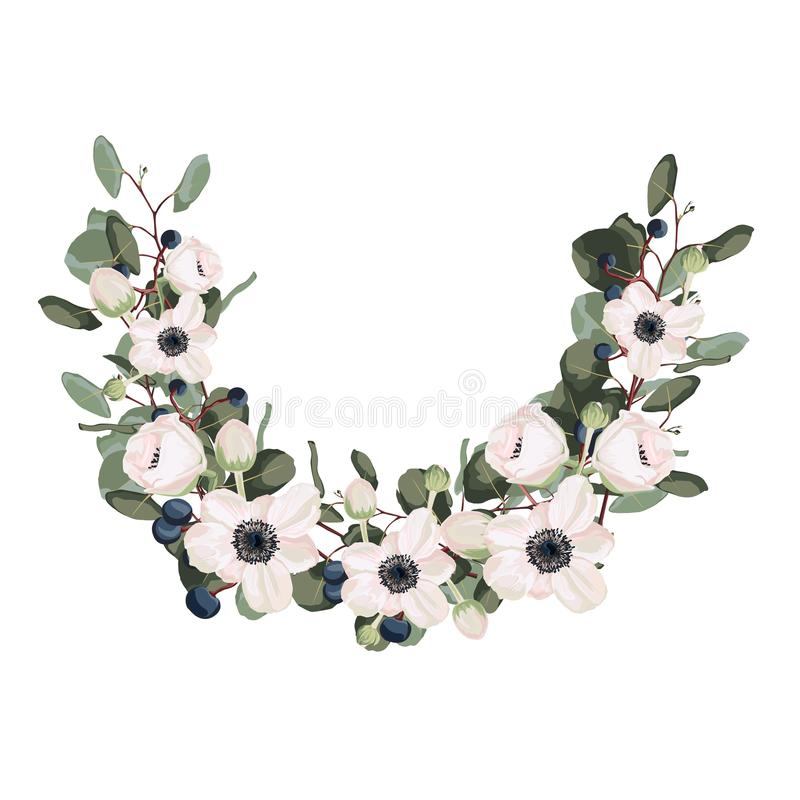 Flower wreath with leaves and flowers. Vector. The design of the invitation. Background for save the dates. Romantic wild flowers with pink anemones, berries stock illustration