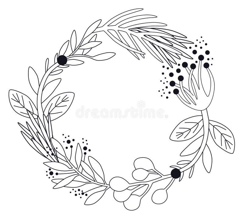 Flower Wreath Line Art Stock Illustrations 7 636 Flower Wreath Line Art Stock Illustrations Vectors Clipart Dreamstime