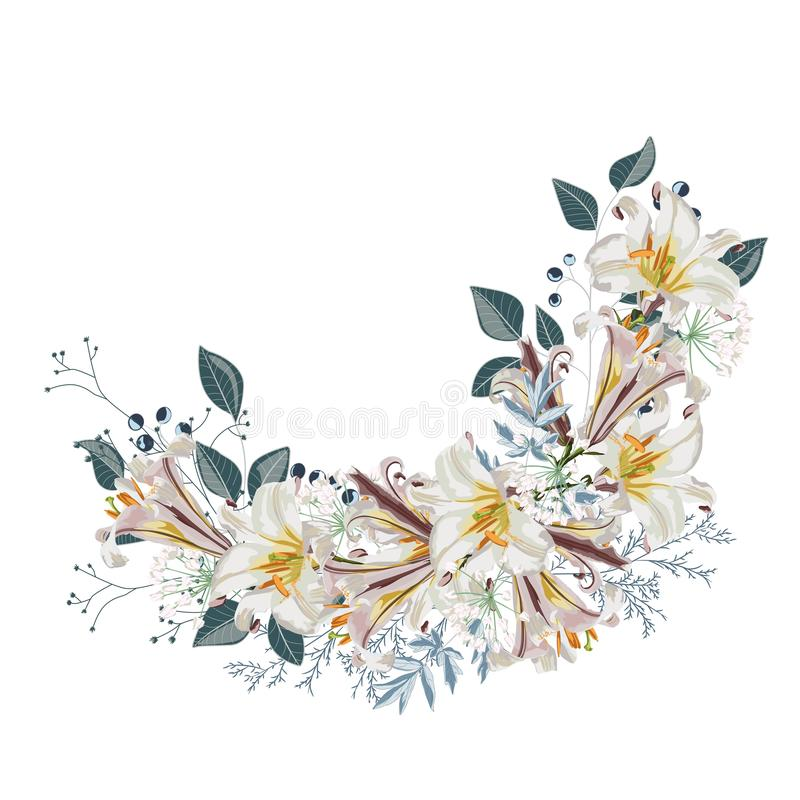 Flower wreath with leaves and white lilies flowers. Design of the invitation. Background for save the dates. Romantic circle with flowers and herbs vector illustration