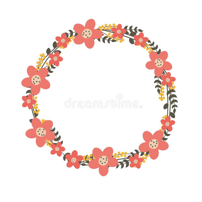 Flower wreath vector illustration with pink/coral color royalty free illustration