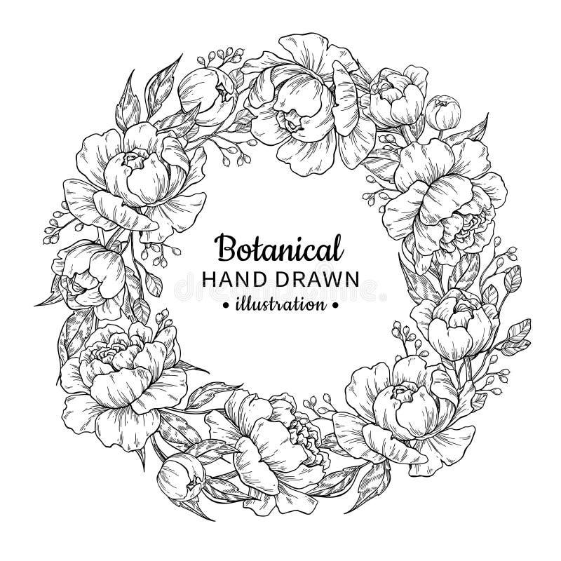 Flower wreath. Vintage vector frame drawing. Peony, rose, leaves royalty free illustration
